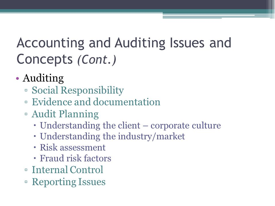 Accounting and Auditing Issues and Concepts (Cont.)