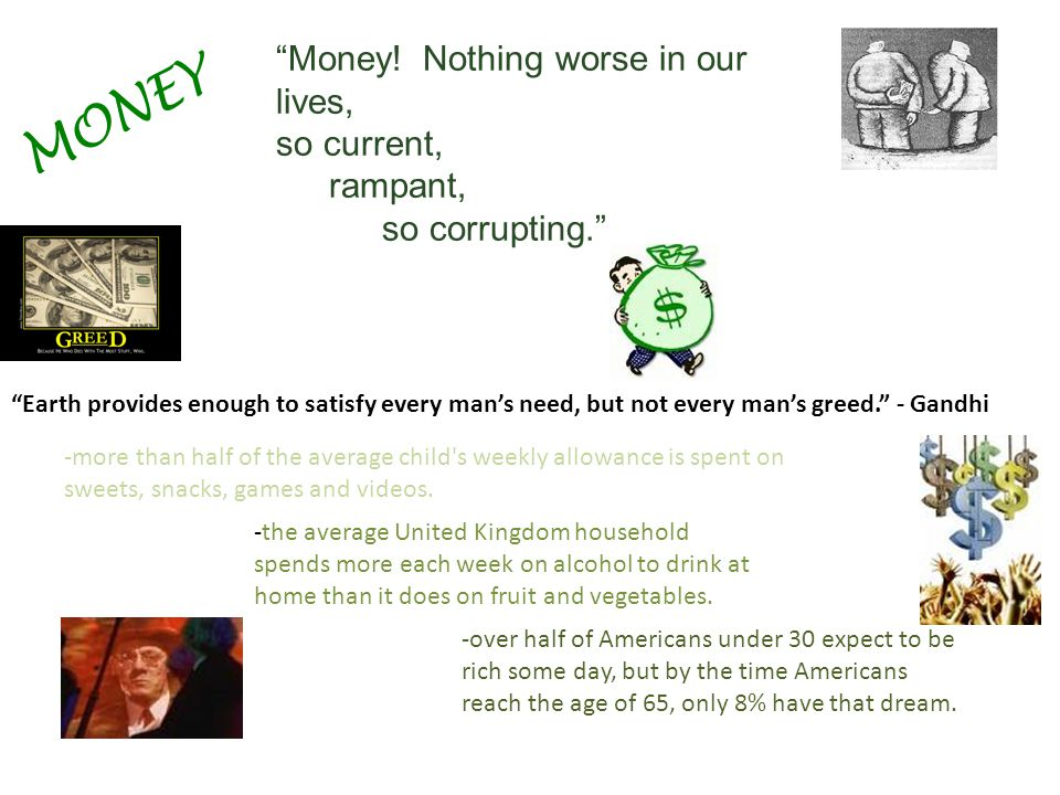 MONEY Money! Nothing worse in our lives, so current, rampant,