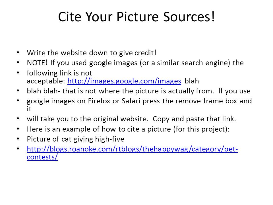 Cite Your Picture Sources!