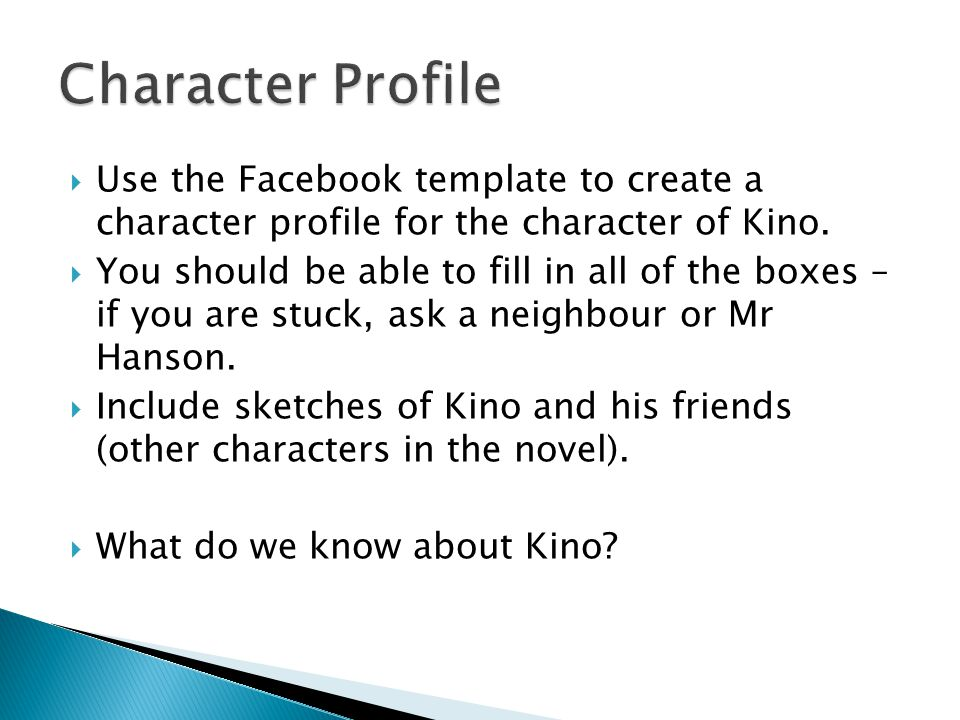 Character Profile Use the Facebook template to create a character profile for the character of Kino.
