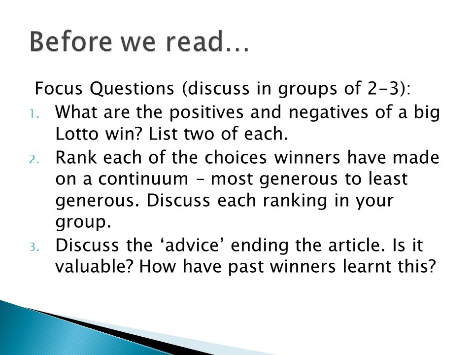 Before we read… Focus Questions (discuss in groups of 2-3):