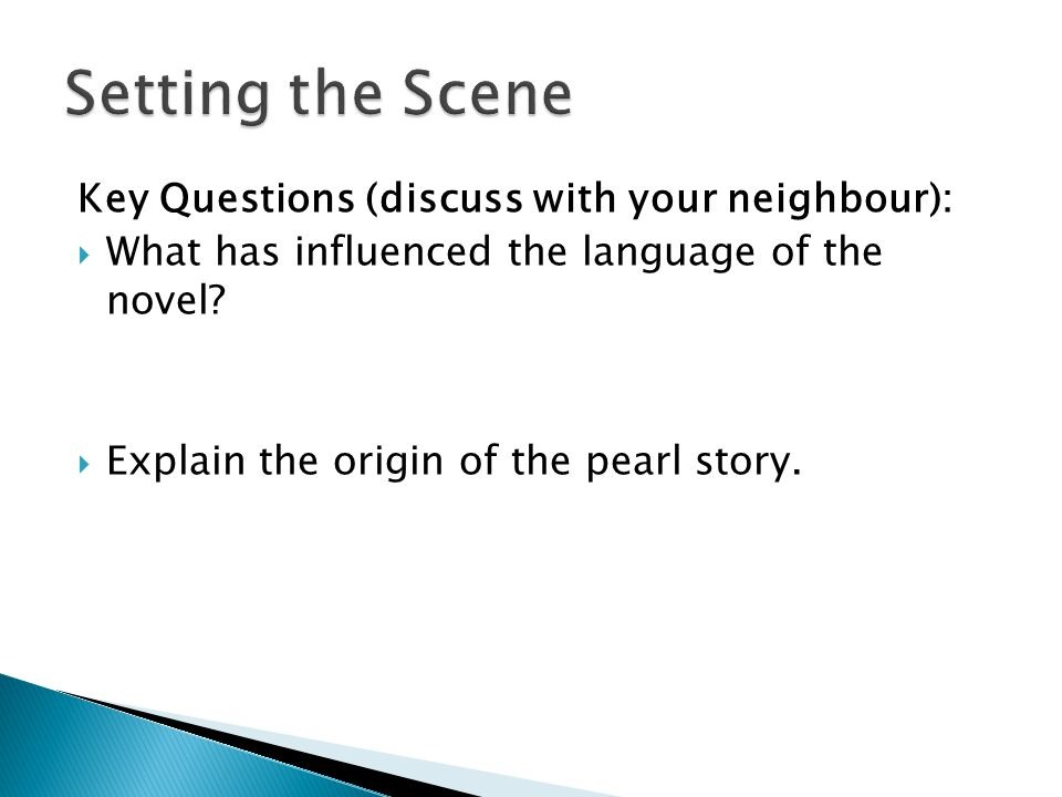 Setting the Scene Key Questions (discuss with your neighbour):