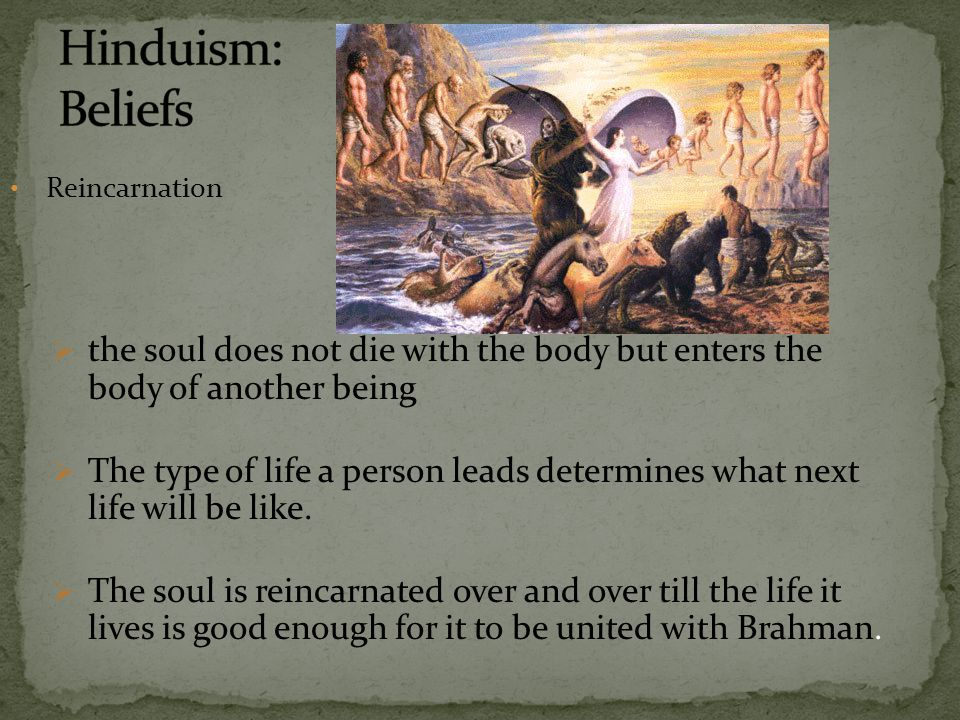 Hinduism: Beliefs Reincarnation. the soul does not die with the body but enters the body of another being.
