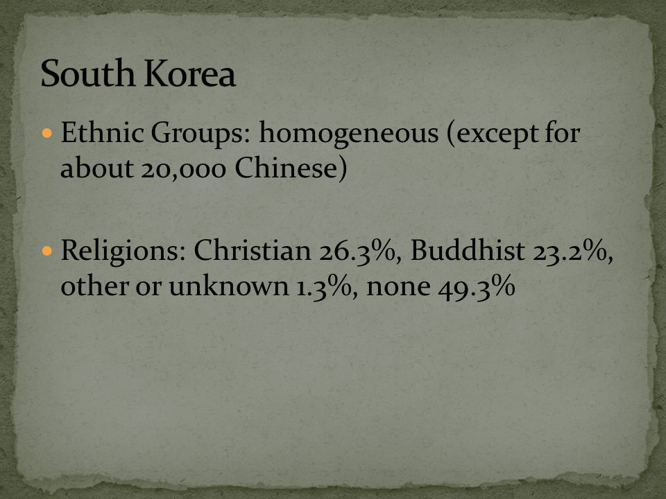 South Korea Ethnic Groups: homogeneous (except for about 20,000 Chinese)