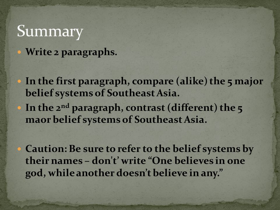 Summary Write 2 paragraphs.