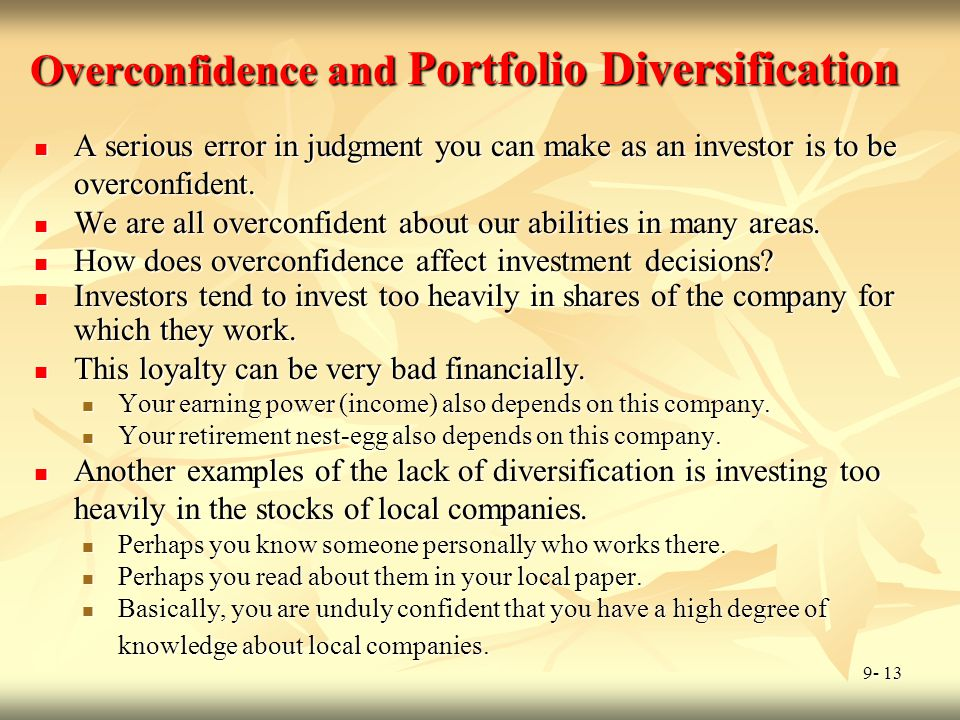 Overconfidence and Portfolio Diversification