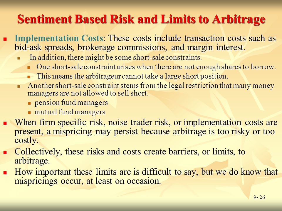 Sentiment Based Risk and Limits to Arbitrage
