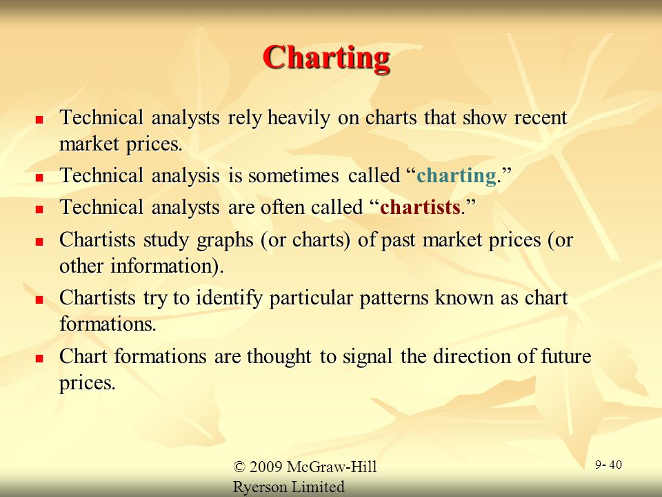 Charting Technical analysts rely heavily on charts that show recent market prices. Technical analysis is sometimes called charting.