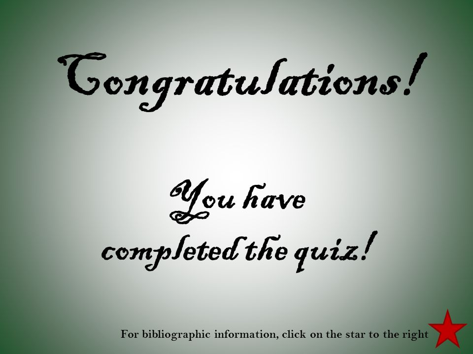 Congratulations! You have completed the quiz!