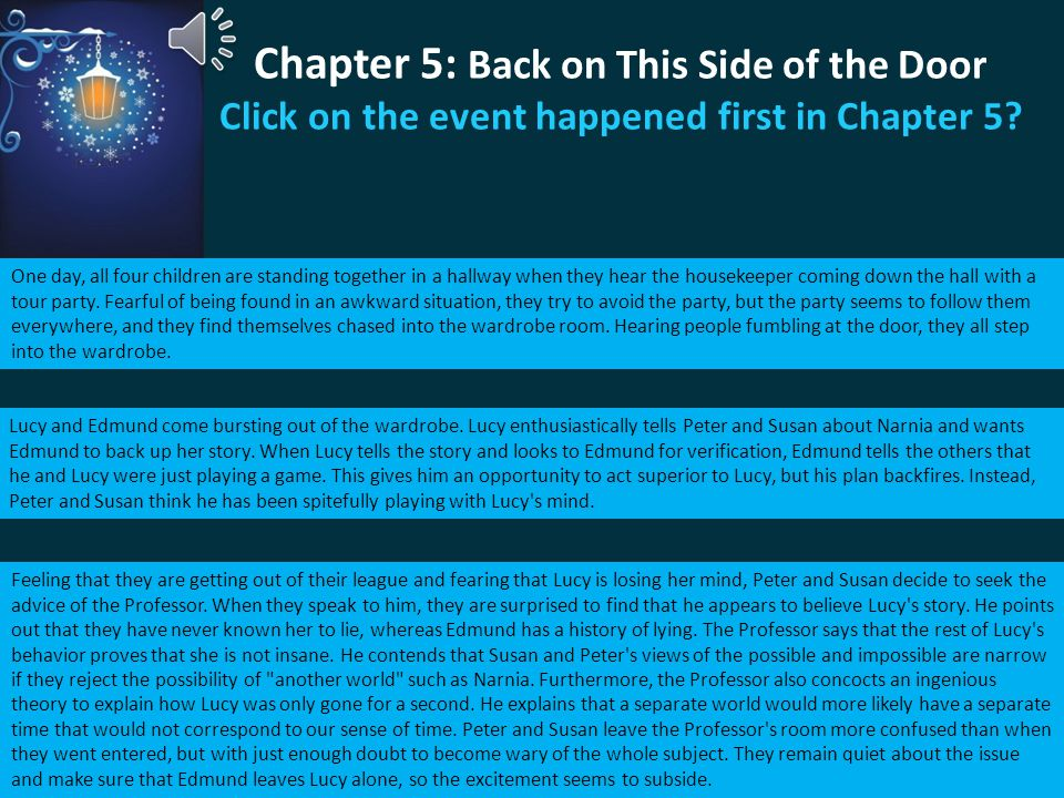 Chapter 5: Back on This Side of the Door Click on the event happened first in Chapter 5