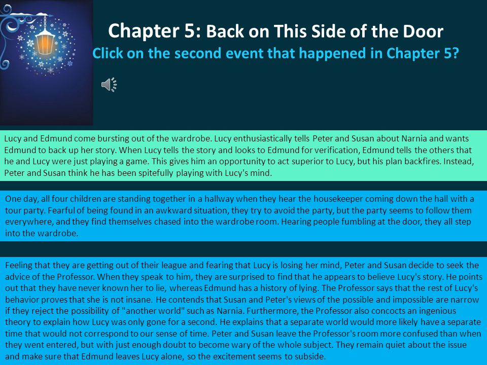 Chapter 5: Back on This Side of the Door Click on the second event that happened in Chapter 5