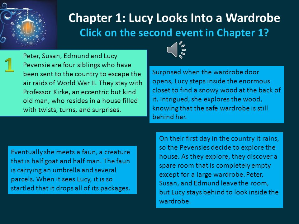 Chapter 1: Lucy Looks Into a Wardrobe Click on the second event in Chapter 1
