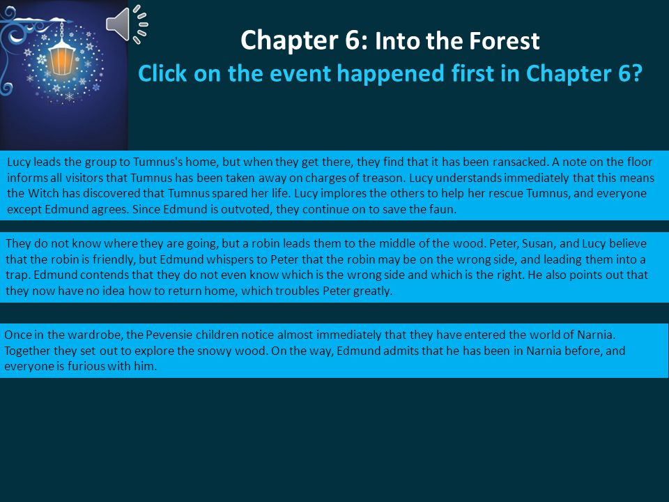Chapter 6: Into the Forest Click on the event happened first in Chapter 6