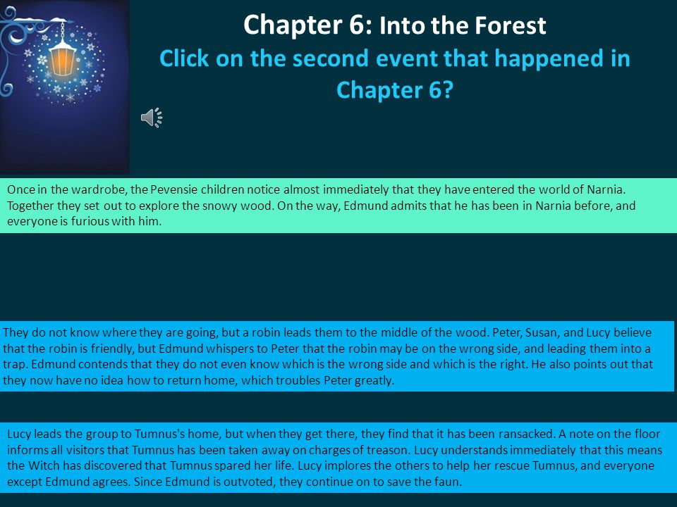 Chapter 6: Into the Forest Click on the second event that happened in Chapter 6