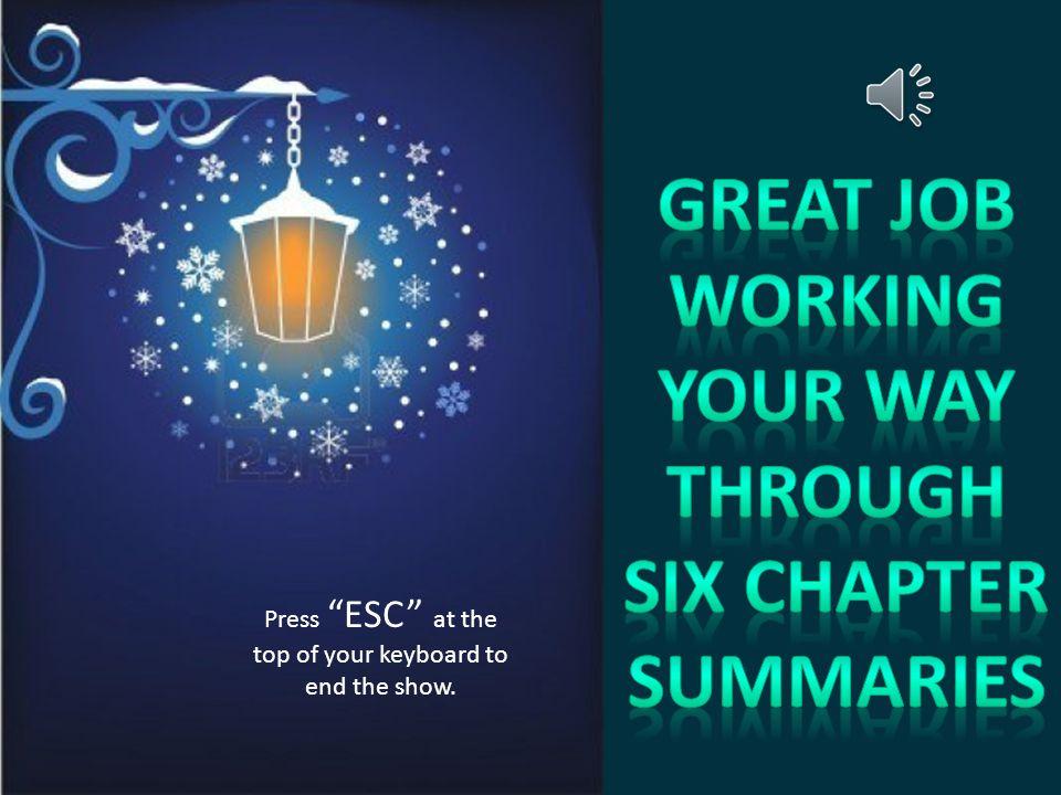 Great Job working your way through six chapter summaries