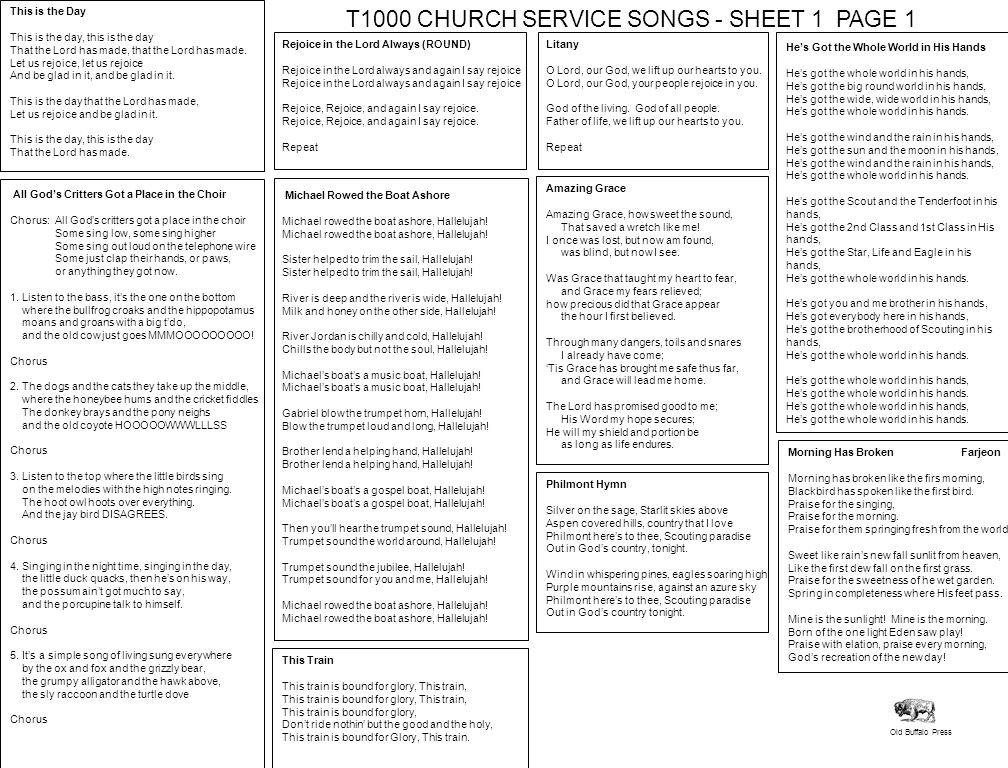 T1000 CHURCH SERVICE SONGS - SHEET 1 PAGE 1
