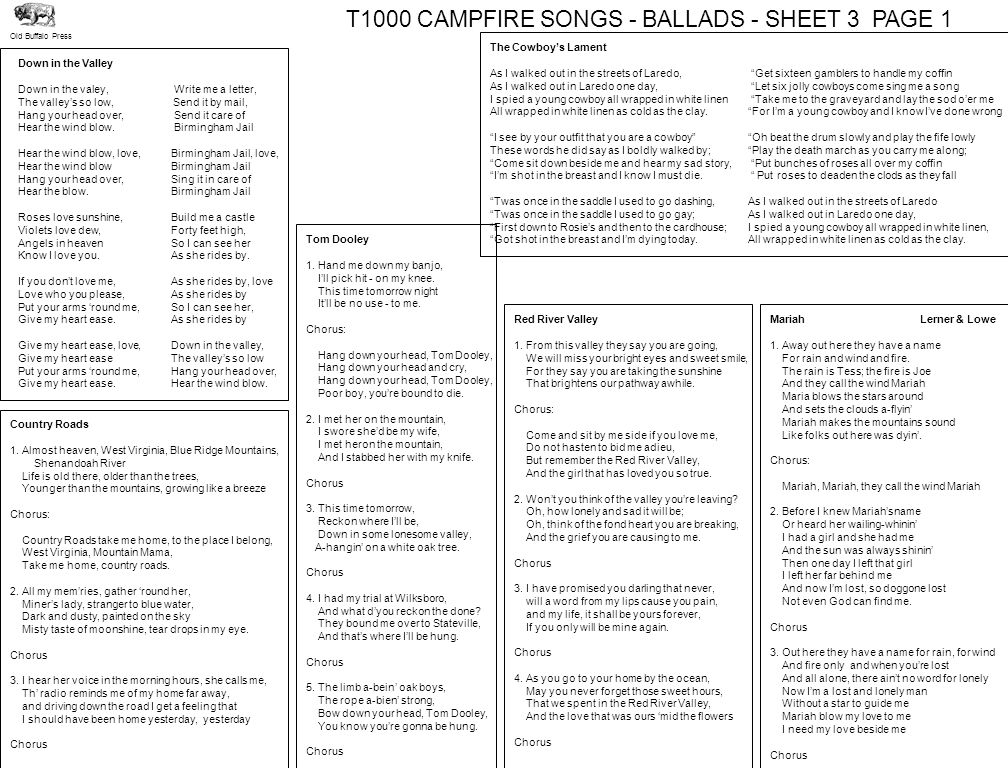 T1000 CAMPFIRE SONGS - BALLADS - SHEET 3 PAGE 1