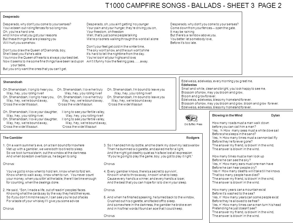 T1000 CAMPFIRE SONGS - BALLADS - SHEET 3 PAGE 2