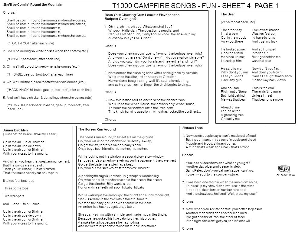 T1000 CAMPFIRE SONGS - FUN - SHEET 4 PAGE 1