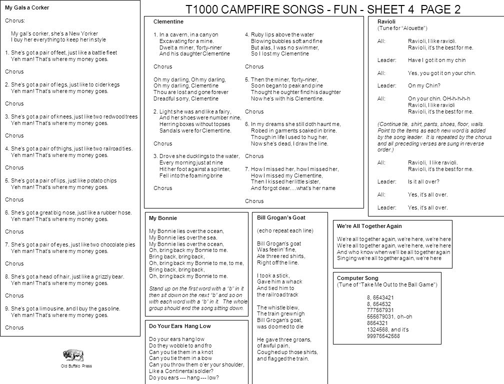T1000 CAMPFIRE SONGS - FUN - SHEET 4 PAGE 2