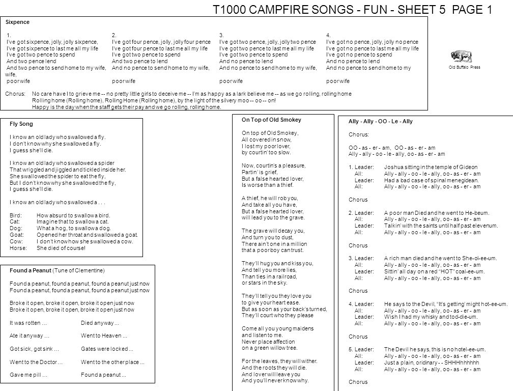 T1000 CAMPFIRE SONGS - FUN - SHEET 5 PAGE 1
