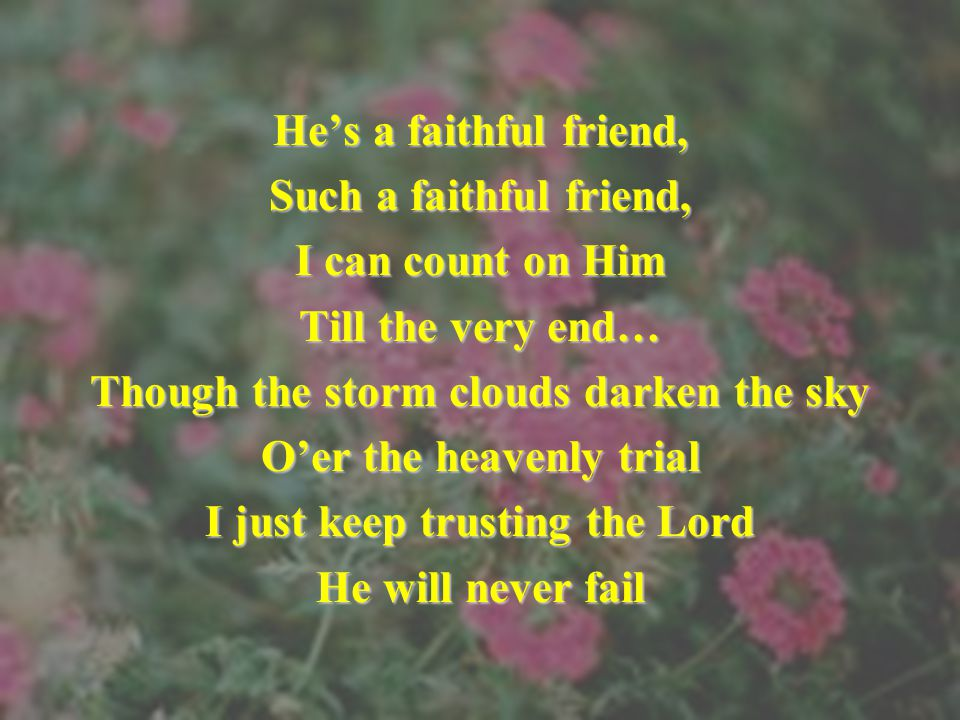 Though the storm clouds darken the sky O'er the heavenly trial