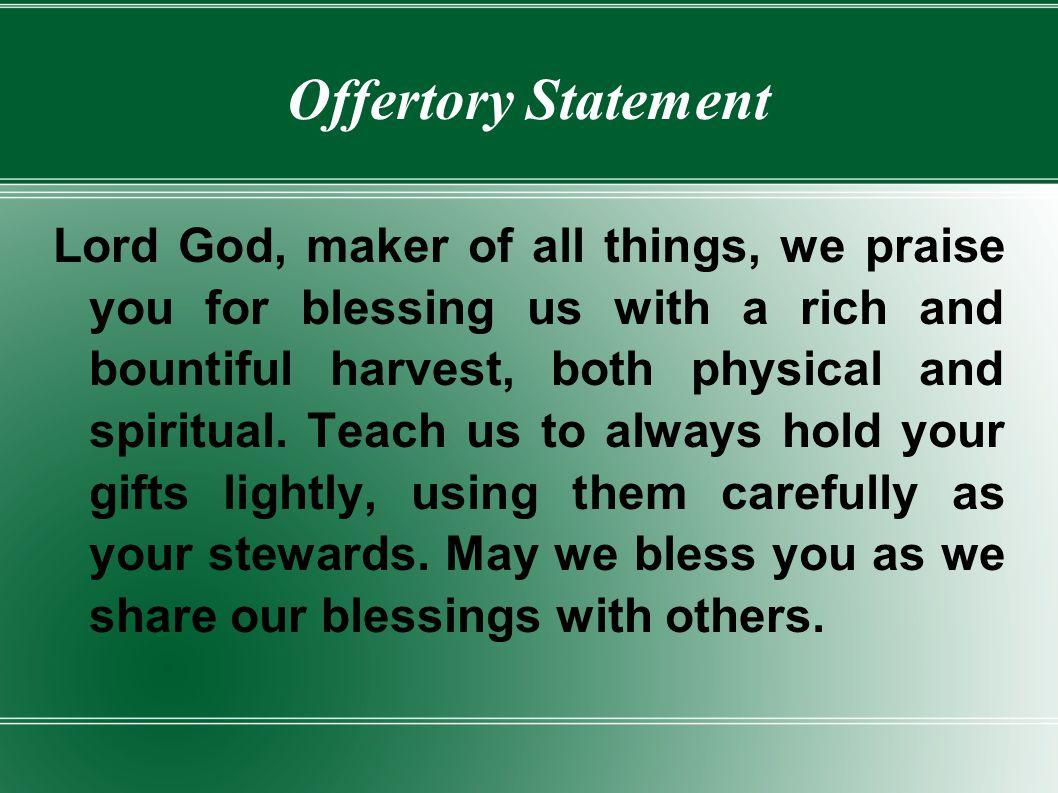 Offertory Statement