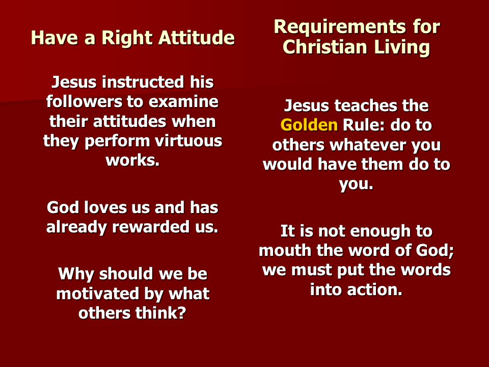 Requirements for Christian Living