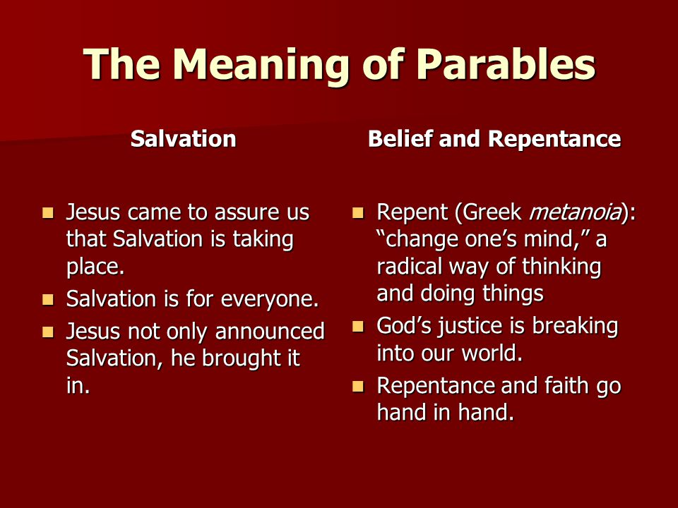 The Meaning of Parables