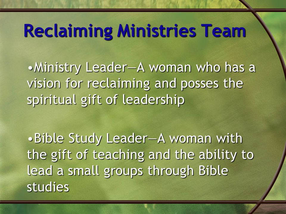 Reclaiming Ministries Team