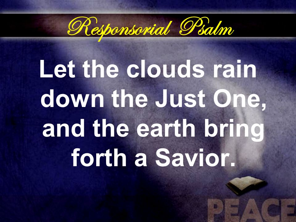 Responsorial Psalm Let the clouds rain down the Just One, and the earth bring forth a Savior.
