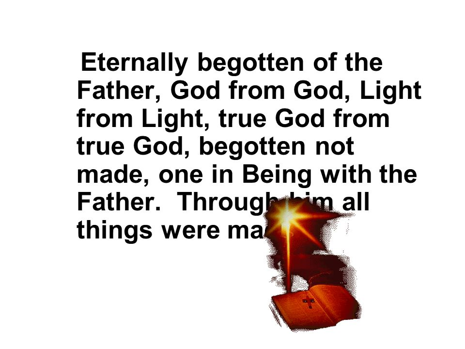 Eternally begotten of the Father, God from God, Light from Light, true God from true God, begotten not made, one in Being with the Father.