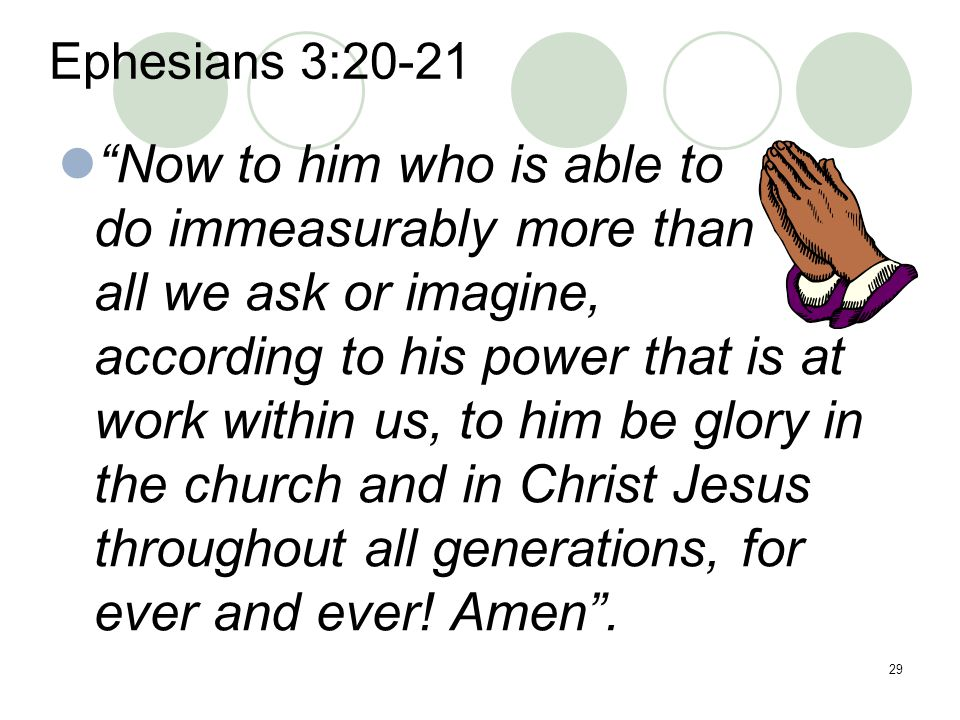 Now to him who is able to do immeasurably more than