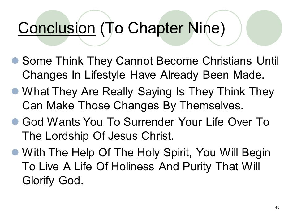 Conclusion (To Chapter Nine)