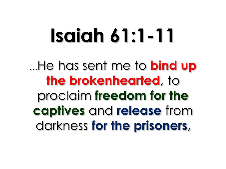 Isaiah 61:1-11 …He has sent me to bind up the brokenhearted, to proclaim freedom for the captives and release from darkness for the prisoners,