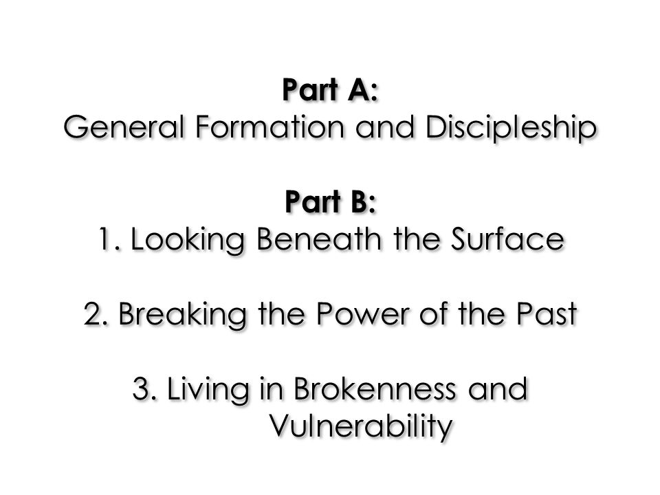 Part A: General Formation and Discipleship Part B: 1