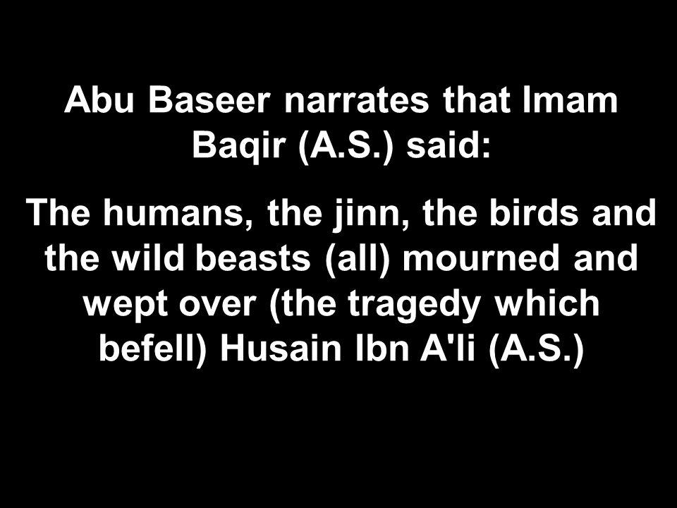 Abu Baseer narrates that Imam Baqir (A.S.) said: