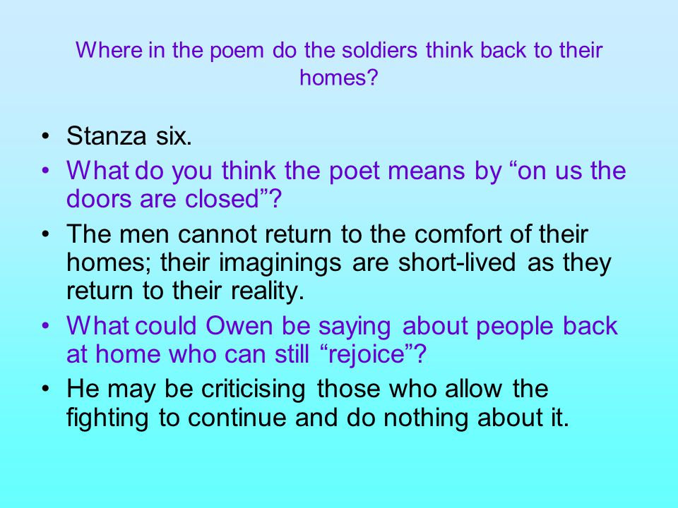 Where in the poem do the soldiers think back to their homes