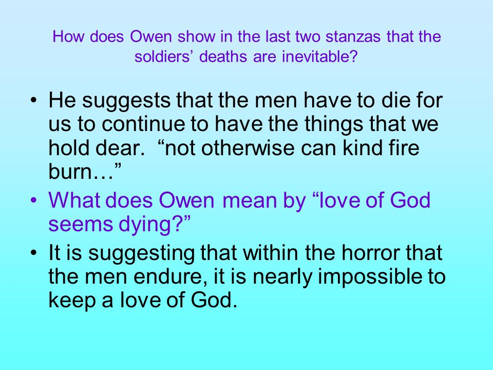 What does Owen mean by love of God seems dying