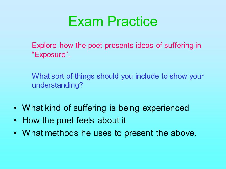 Exam Practice What kind of suffering is being experienced