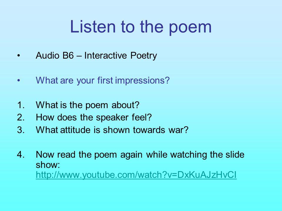 Listen to the poem Audio B6 – Interactive Poetry