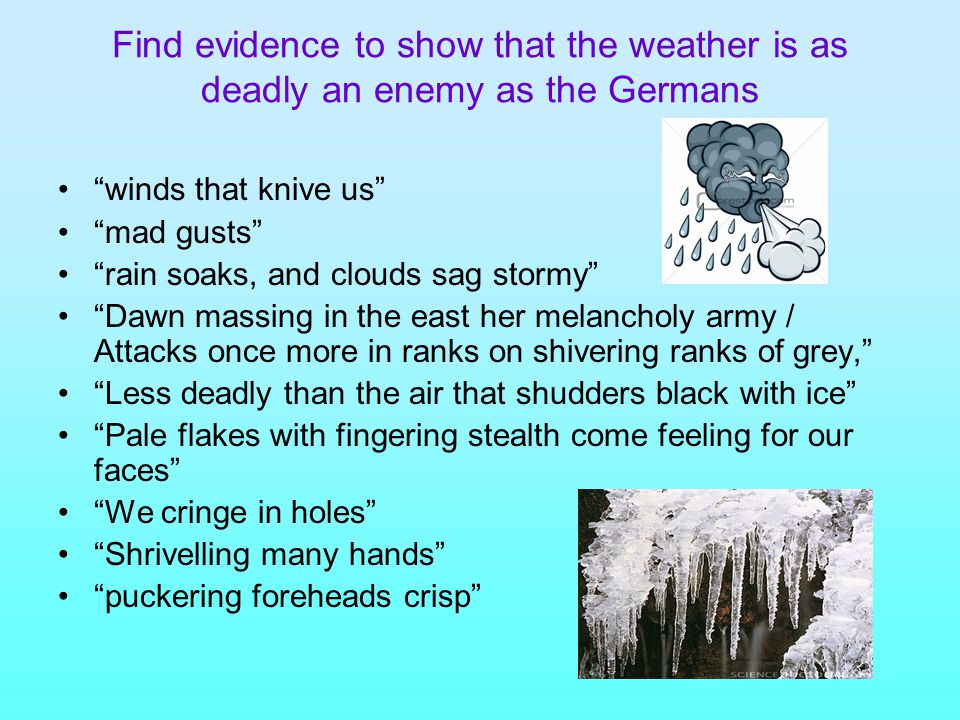Find evidence to show that the weather is as deadly an enemy as the Germans