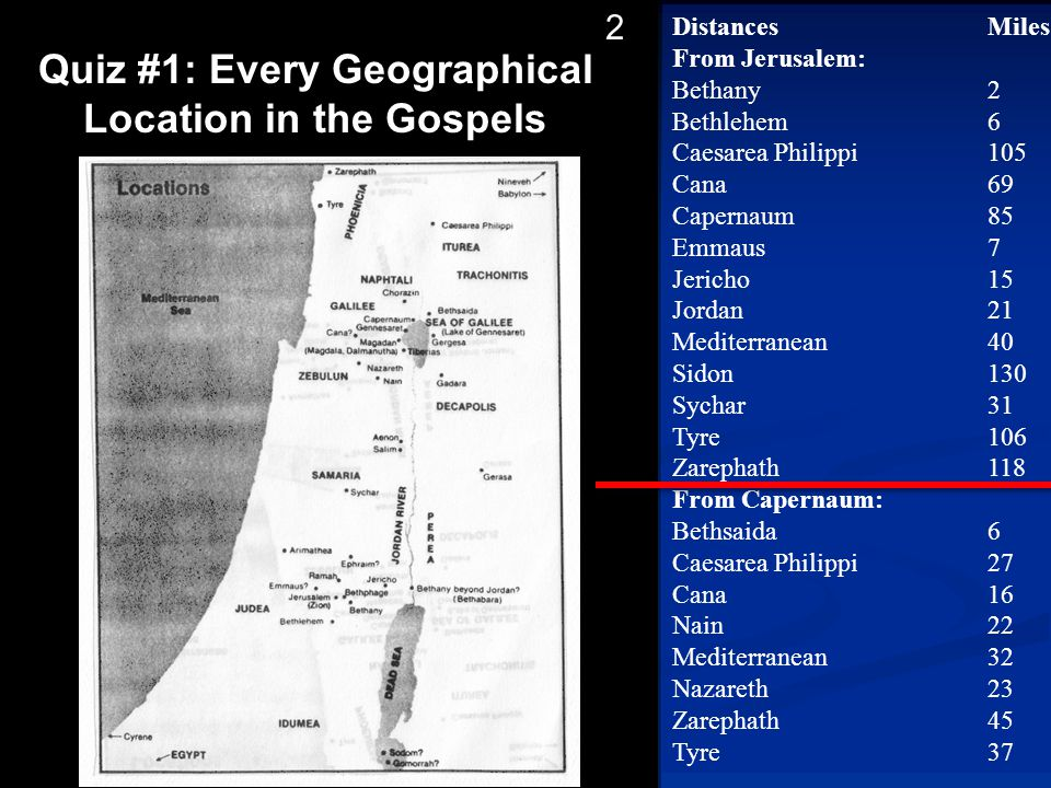 Quiz #1: Every Geographical Location in the Gospels
