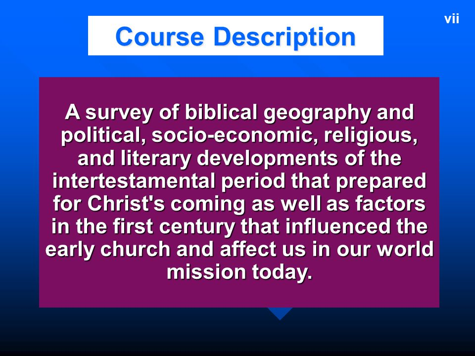vii Course Description.