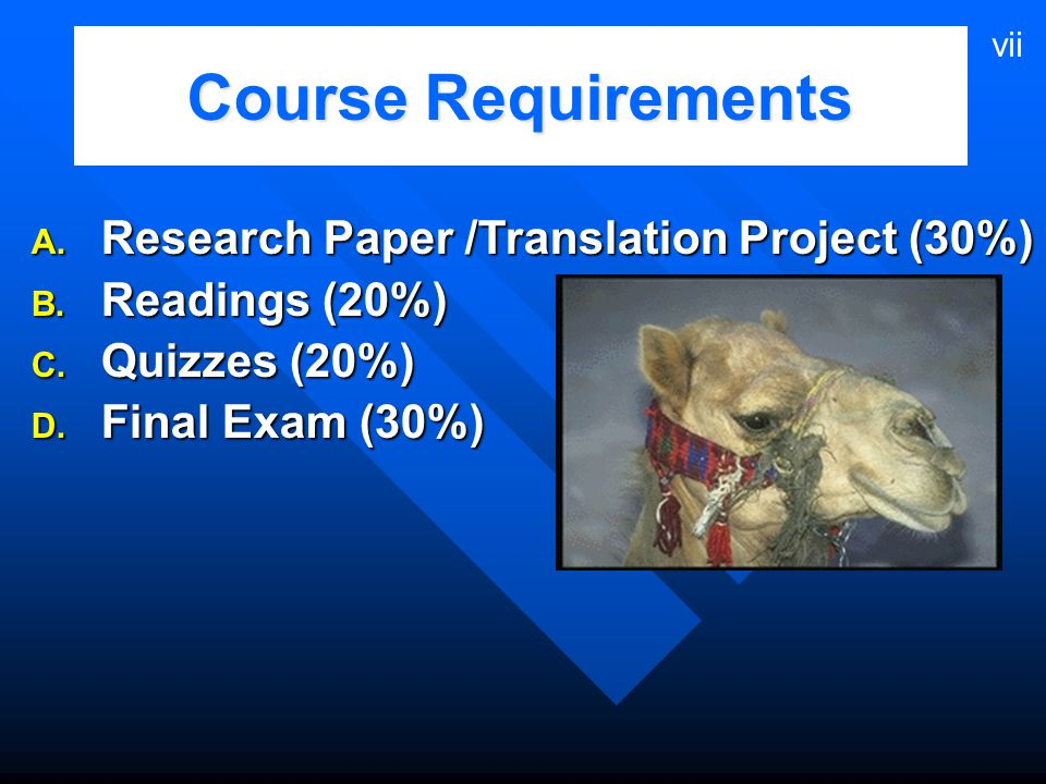 Course Requirements Research Paper /Translation Project (30%)