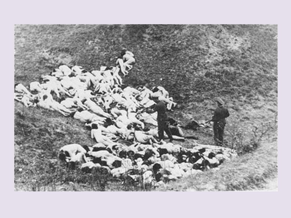 German police at a mass execution early on in the war.