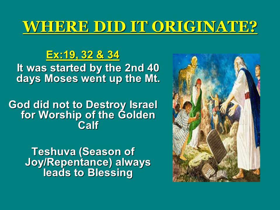 Teshuva (Season of Joy/Repentance) always leads to Blessing