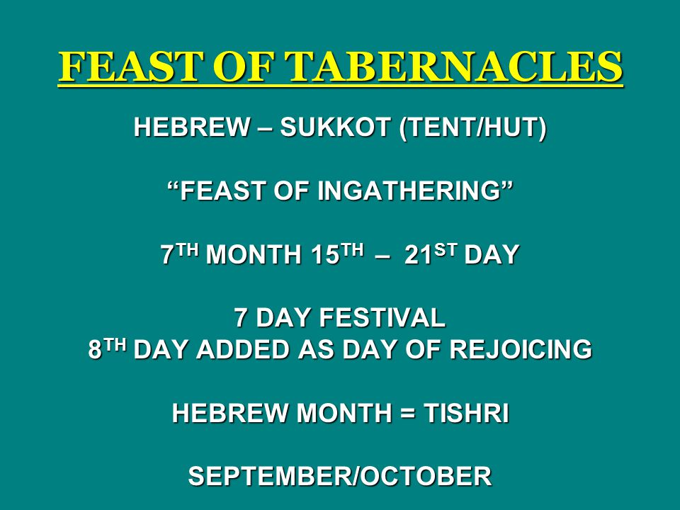 FEAST OF TABERNACLES HEBREW – SUKKOT (TENT/HUT) FEAST OF INGATHERING