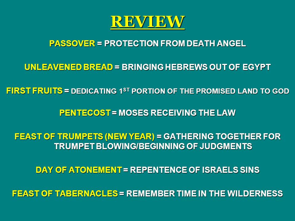 REVIEW PASSOVER = PROTECTION FROM DEATH ANGEL
