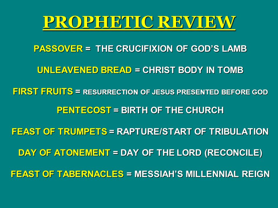 PROPHETIC REVIEW PASSOVER = THE CRUCIFIXION OF GOD'S LAMB
